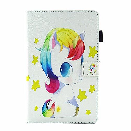 Lspcase Funda Samsung Galaxy Tab A6 Libro Leather Inteligente Flip magnético Cierre Funda de protección Wallet Back Cover para Samsung Galaxy Tab A6 10.1 Pulgada SM-T580 SM-T585 Bebé Unicornio