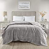 Madison Park Coleman Cozy Reversible Blanket, Luxury Plush Season Down Alternative Cover for Bed, Couch and Sofa, King(108'x90'), Grey