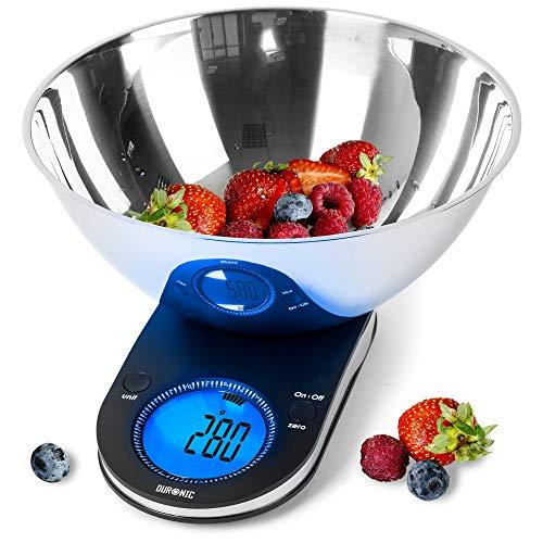 Duronic KS5000 Balance de cuisine | Capacité de 5 kg | Bol inclus | Large écran rétroéclairé | Fonction d'ajout de poids | Précision à 1 g | Idéale pour la pâtisserie ou comme balance postale
