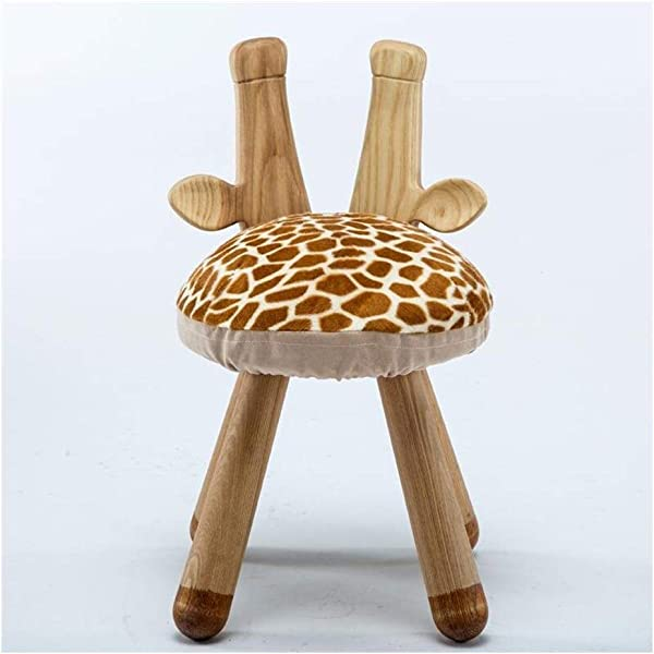 Carl Artbay Wooden Footstool Giraffe Style Wooden Stent Chair Solid Wood Bench Round Stool Baby Chair Home Home