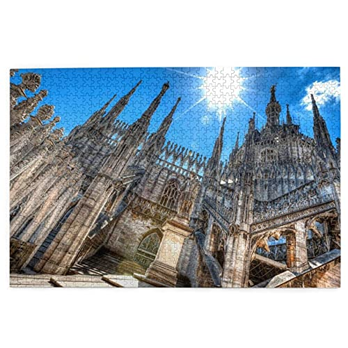 1000 Pieces Art Picture Wooden Puzzle Duomo Cathedral Milan Italy Milan Landmarks Puzzles for Adults Teens