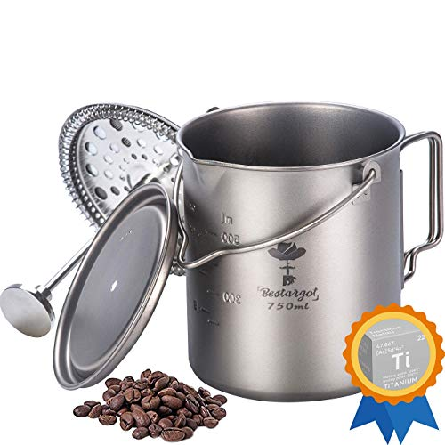 Bestargot Camping Titanium French Press, Outdoor Coffee Maker 750ml Cup, Camp Cooking Pot, Multi-Functional Travel Mate, Capacity 25 Fl Oz, Light, Portable, Applicable Gas and Wood Burning Stove