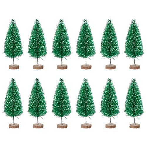 VOSAREA 12 Stücke Mini Weihnachtsbaum Deko 8.5CM Grün Sisal Modellbau Miniatur Bäume Kleiner Tannenbaum Künstlicher Christbaum Weihnachten Tischdeko Weihnachtsdeko Micro Landschaft Deko