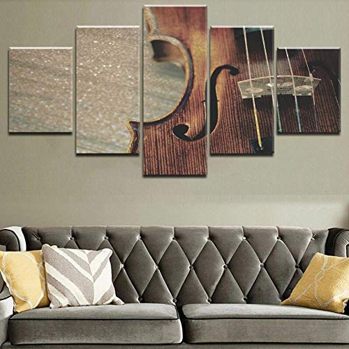 NoBrand muur Art Print 5 stuks muziekinstrumenten van hout viool snaren retro klassiek muziek schilderij decoratie thuis 30 x 40 30 x 80 cm zonder lijst