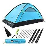 ZIIDOO Leichtes Campingzelt 2 Personen Zelt,Kuppelzelt für Trekking, Festival, Camping, Rucksack, Familien, Outdoor