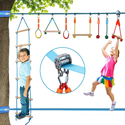 Vanku 15M Escalada Cuerda con Polea para Niños, Ninja Slackline Equipos Brazo de Entrenamiento de Gimnasi para niños con Línea de Entrenamiento al Aire Libre - Multicolor
