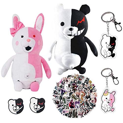 St.Mandyu Danganronpa Monomi Monokuma Bear Plush Doll Toy, Anime Keychain Earring and Stickers, Set for Girls Girlfriends 9.8inch