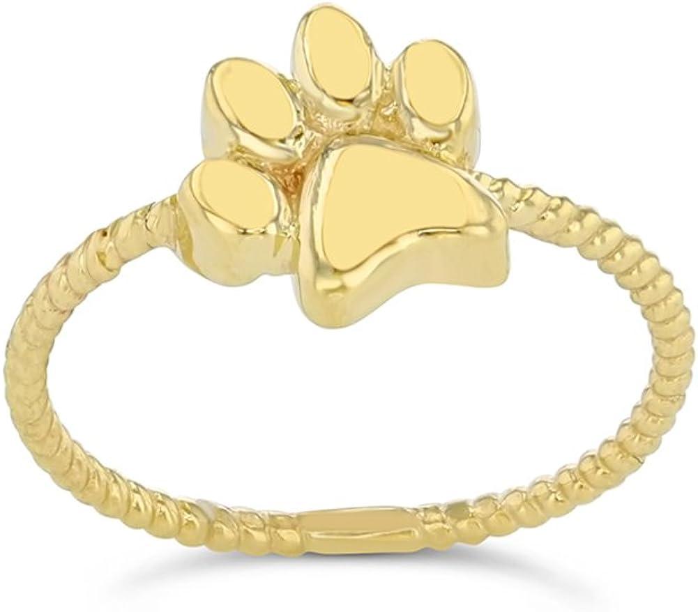 Elegant 10k Yellow Gold Dog Paw Print Statement Rope Ring