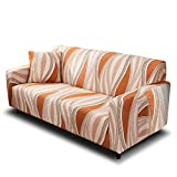 HOTNIU Stretch Sofa Cover Printed Couch Covers for 2 Cushion Couch Slipcovers for Sofas Loveseat Armchair Elastic Universal Furniture Protector with One Free Pillowcase (2 Seat, Orange Stripes)