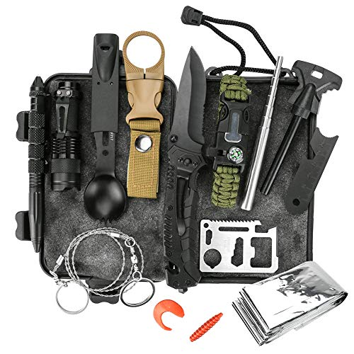 welltop 12 in 1 Outdoor Survival Kits Fishing Hunting Gear Hiking Camping Equipment Outdoor Adventure Gifts Ideas EDC Emergency Tools Cool & Unique Gadgets Gifts for Men Dad Husband Boyfriend