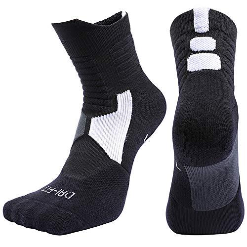 RONSHIN Unisex Professionelle Deodorant Midhose Basketball Sportsocken Strümpfe, schwarz M[34-38]