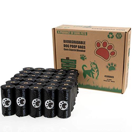 Dumi Pets Biologisch abbaubare Kotbeutel, extra dick und stark,30 Rollen für 450 Stück Hundekotbeutel,(schwarz)