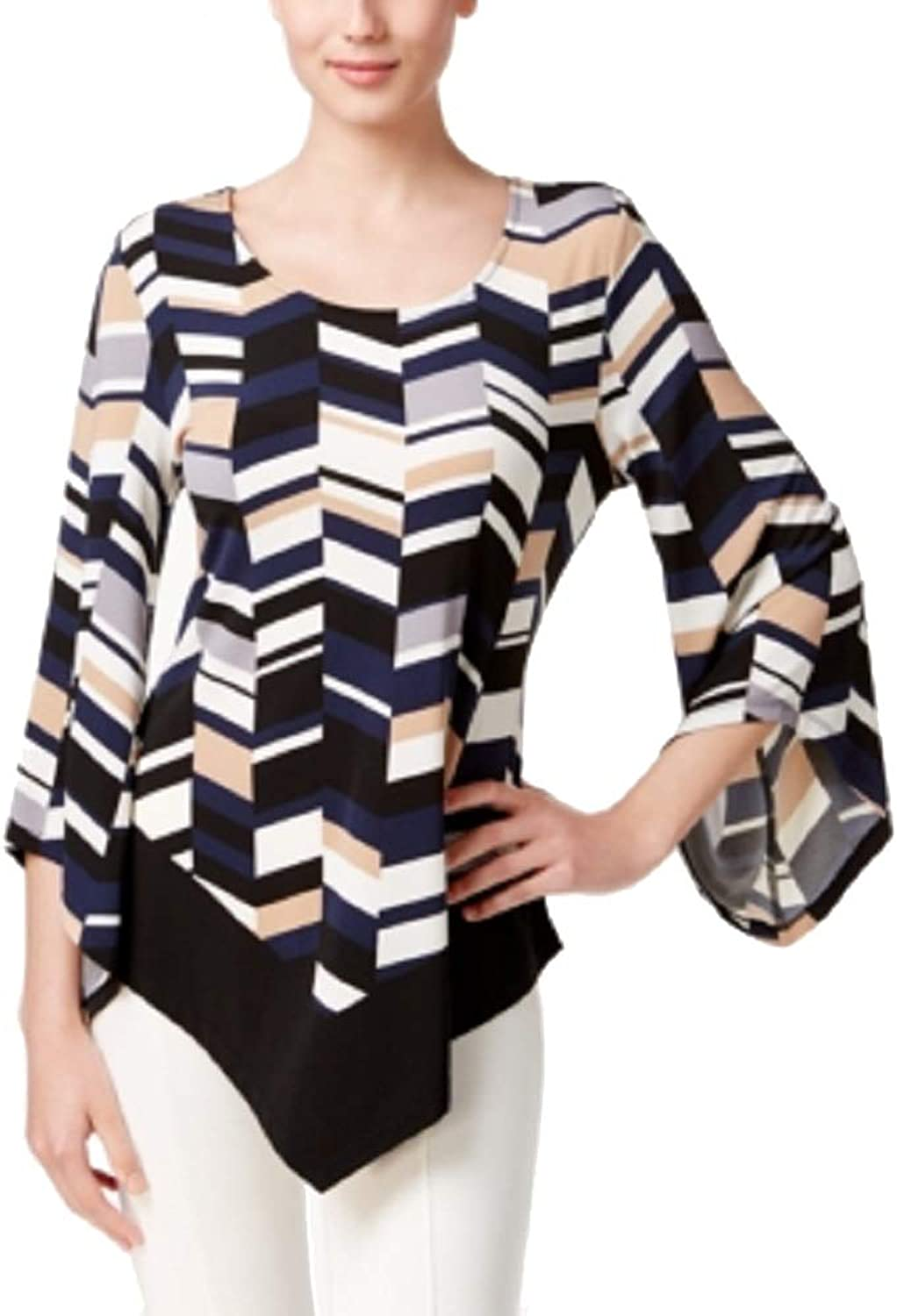 Alfani Petite Printed Asymmetrical Top