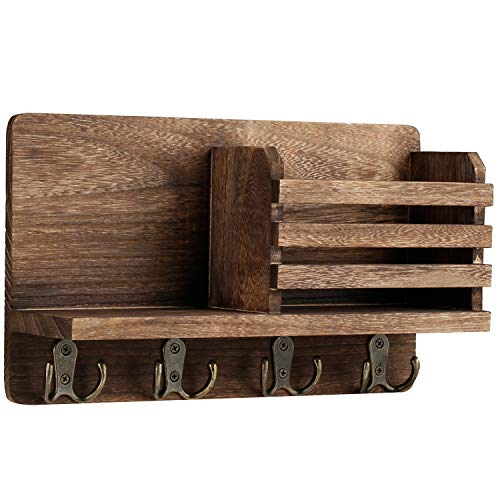 Y&ME YM Mail Organizer Wall Mounted Rustic Key Hangers and Mail Sorter Wood Decorative Mail Shelf with 4 Hooks Key Holder for Wall Wooden Key and Mail Holder for Wall Decorative Rustic Brown
