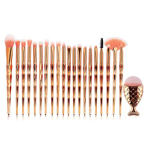 Posional Pinceaux de Maquillage Ensemble, 21PCS Set/Kit Sourcils Eyeliner Anticernes Premium Coloré Pinceaux Maquillage Yeux pour Fusion de Fond de Teint Concealer Yeux