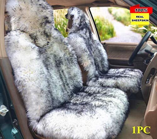 Inzoey Sheepskin Car Seat Cover Front Seats Breathable Australia Wool Seat Cushion Universal Fits Most Car, Truck, SUV Seats Grey Tips