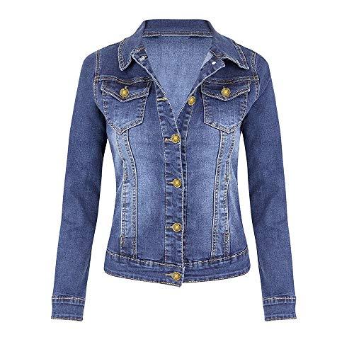 LIHAEI Kurze Jeansjacke Damen Blau Taliert LäSsiger Mantel Damenjacke Leichte Denim Jacket Washed Casual Fit Denim Jane üBergangsjacken Jeansjacken (XL, Blau)