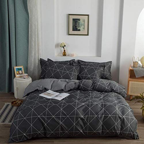Geometric Triangle Bedding Set 3Pcs Geometric Grid Stripes Duvet Cover for Kids Men Adults Luxury Reversible Lattice Comforter Cover with 2 Pillowcases King Bedding Collection,Black,Gray,Zipper