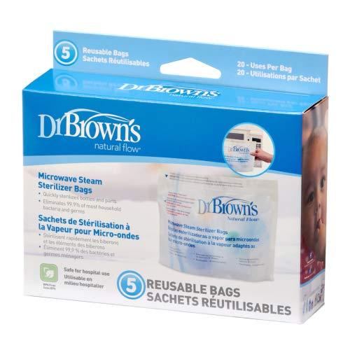 Dr Brown's Natural Flujo Microondas Vapor Esterilizador Bolsas X 5