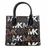 Michael Kors Mercer Small Satchel Messenger Black Multi Graphic Logo MK Leather