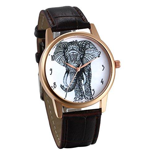 JewelryWe Damen Armbanduhr, Elegant Charm Elefant Analog Quarz Uhr Leder Band Quarzuhren mit Weiß Digital Zifferblatt, Farbe: Braun