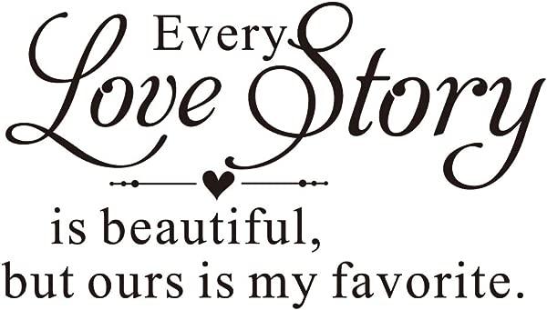 每个爱情故事都是美丽的,但我们的是我最喜欢的乙烯基墙贴花艺术字母心形