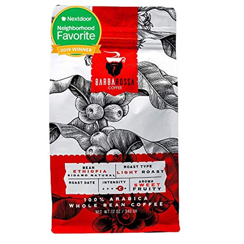 Barbarossa Ethiopian Sidamo Coffee -Natural Premium Quality Handcrafted - Light Roasted - Low Acidity Sweet Fruity Aroma Whole Beans | 2019 Neighborhood Favorite Award