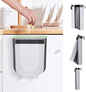 Kitchen Hanging Trash Can,Collapsible Trash Bin Portable Folding Car Trash Can Small Garbage Can Attached to Cabinet Door Household Waste Bin 9L/2.3Gallon for Bedroom Bathroom Baby Crib Office,Gray