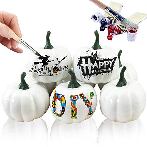 Gxhong Weißer Kürbis, Halloween weißer Kürbis, Weiße Künstliche Kürbisse, Simulation Kürbisse für Halloweendeko, Thanksgiving Dekor und Herbstdeko, (8 Stück)