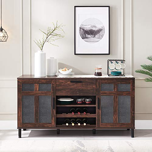 Click Clack Kitchen Sideboard, Dining Buffet Cabinet, Home Bar with Drawers and 8-Bottle Wine Rack, Storage Cupboard for Dining/Living Room/Kitchen, Dark Walnut