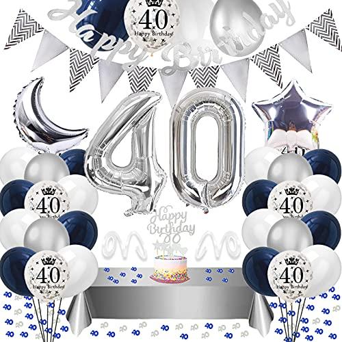 40. Geburtstag Dekoration,Silberblau 40 Geburtstag Dekorationen,Silber Luftballons Number Folienballon 40 Luftballons Tischdecke Happy Birthday Girlande Banner Torten Deko für Männer Frauen