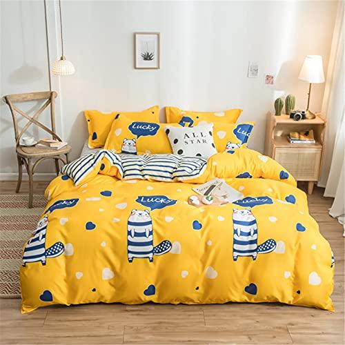 YYSZM Textiles para El Hogar Funda Nórdica Ropa De Cama Patrón De Flores De Algodón Cómodo Y Agradable para La Piel Juego De 4 Piezas 200x230cm