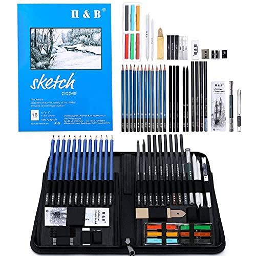 48 pcs Drawing Pencils Kit,Artists Sketching PencilSetfor...