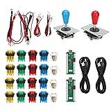 Botones de arcade, piezas del kit de bricolaje de juegos de arcade, 2 manijas de joystick + 20 botones de arcade LED, para juegos de PC Arcade Stick Mame(#1)