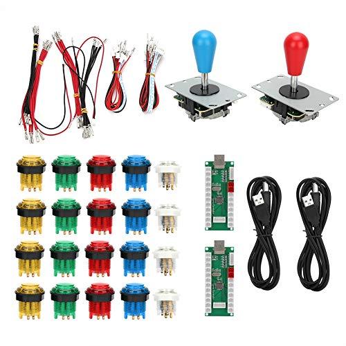 SALUTUYA mit Home Button Joystick, Blau + Rot, Support Burst Keys, USB, Game Rocker, für PS3 für Spiele(Double DIY Arcade Machine-Color)