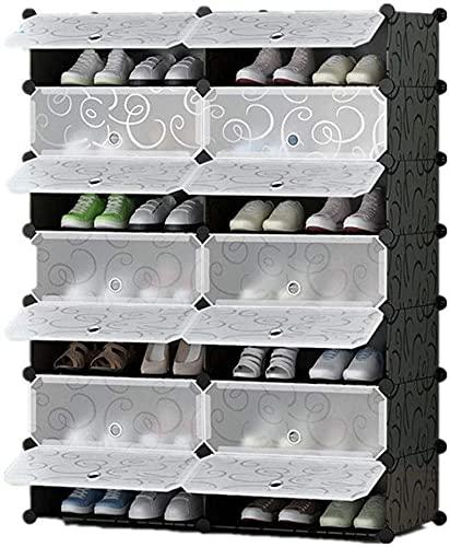 DAFEICHUAN Zapatero, Ahorro de Espacio Bricolaje Caja de gabinete de Zapatos Cube Zapato Almacenamiento Organizador Armario de plástico con Puertas Transparentes Negro Easy Monte (Tamaño: 7-Nivel)