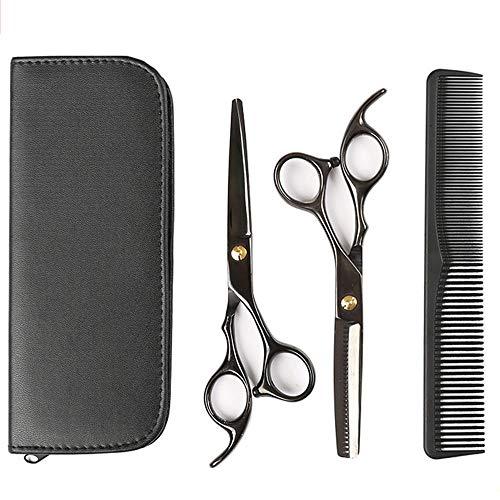 SAHAPA Haarschere Friseurschere Set, Haarschneideschere Set Edelstahl Friseurscheren, Friseurscheren Bartschere, Kamm Schwarz (Friseur scheren)