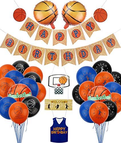 PIXHOTUL Decoraciones para Fiestas de Baloncesto, Happy Birthday Pancartas de Baloncesto y 34 Piezas de Baloncesto Temático Fiesta de Cumpleaños de Globos para Niños y Fanáticos del Baloncesto