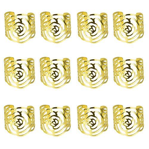 RMENOOR 12 Stück Serviettenringe Set Einstellbar Serviettenschnallen Serviettenhalter Blume Metall Serviettenringe für Hochzeit Geburtstag Weihnachten Taufe Tisch Dekoration (Golden)