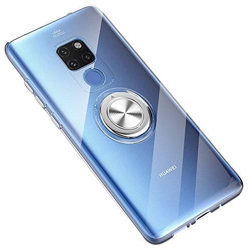 SORAKA Durchsichtige Hülle für Huawei Mate 20X 5G/Mate 20X 4G mit 360 Grad drehbarem Ringständer Weicher TPU durchsichtiger Schutzhülle mit Metallplatte für Handyhalterung Auto KFZ Magnet Stoßdämpfung