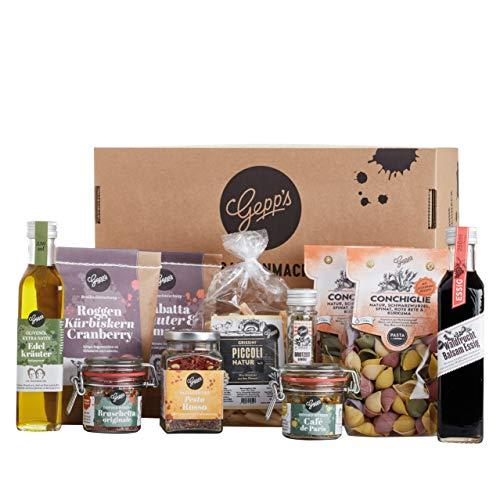 Gepp's Feinkost Basic Paket Familie | Vorratspaket mit köstlichen Delikatessen, wie Pasta und Olivenöl, hergestellt nach eigener Rezeptur | Geschenk für Feinschmecker oder für den eigenen Vorrat