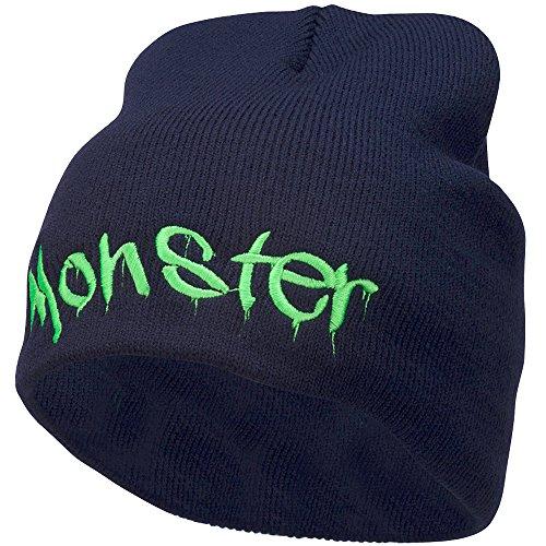e4Hats.com Monster Embroidered Short Beanie - Navy OSFM
