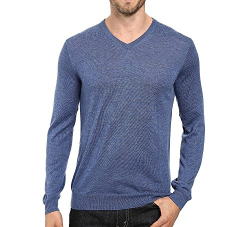 Calvin Klein Mens Merino Solid V-Neck Sweater (XX-Large, Shuttle blue)