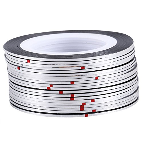 Vaorwne 20pcs nail Sticker Fil Bandes Striping Tape Autocollant Manucure Ongle Nail Art Tips argent