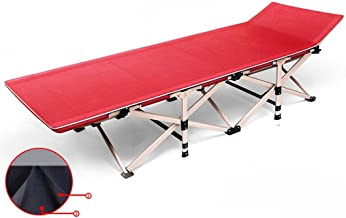 Folding Bed Outdoor with Cushion Camping Bed Camp Bed Portable Outdoor Hospital Accompanying Bed Folding Bed (Color : Red)
