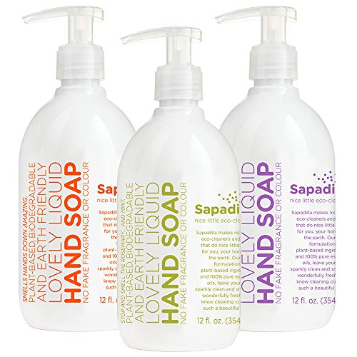 Sapadilla Rosemary + Peppermint, Grapefruit + Bergamot, Sweet Lavender + Lime Hand Soap, 12 Ounce 3 Pack