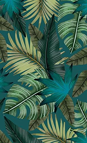 Deco&Fun - Alfombra Vinílica Nature Tropical Azul 110x180cm - Alfombra PVC Alfombra vinílica Cocina- Alfombra vinílica salón - Alfombras de Vinilo