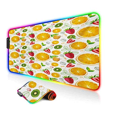 RGB Gaming Mouse Pad,Citrus Kiwi Lemon Leaves Apricot Watermelon Fresh Exotic Kitchen Soft Computer Keyboard Mouse Pad,35.6'x15.7',for MacBook,PC,Laptop,Desk Earth Yellow Red Lime Green