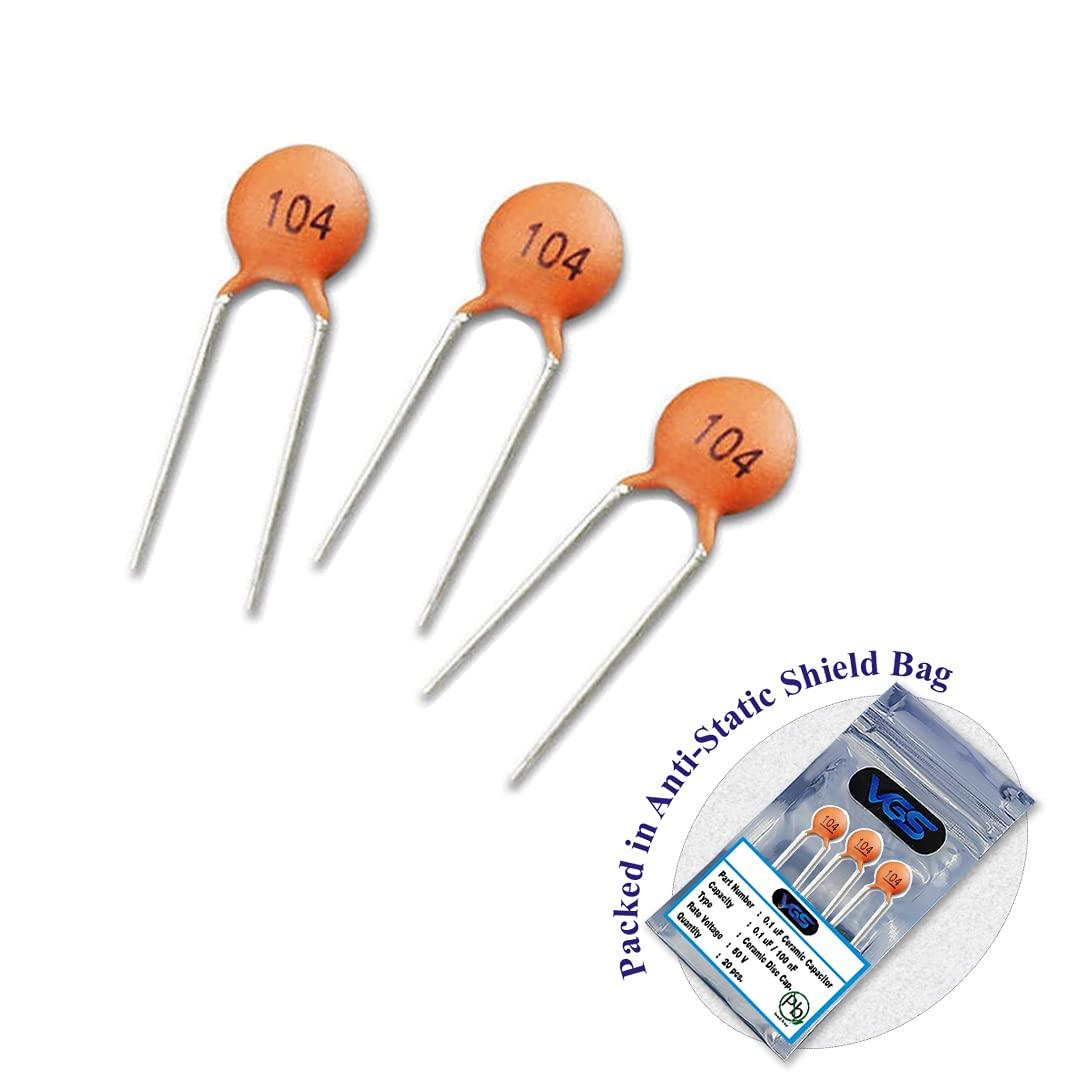 20pcs. of 104 Ceramic Capacitor 0.1uF 100nF Low Voltage DIP Cera
