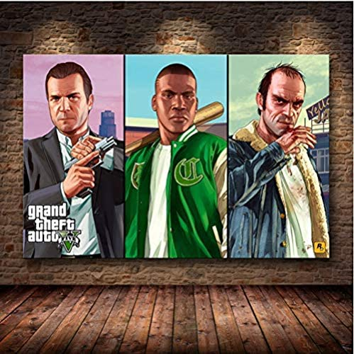 MKAN Grand Theft Auto V Spielplakat, GTA 5 Leinwand Kunstdruck Gemälde Wandbilder, Für Raum Wanddekoration Kein Rahmen 50X70Cm